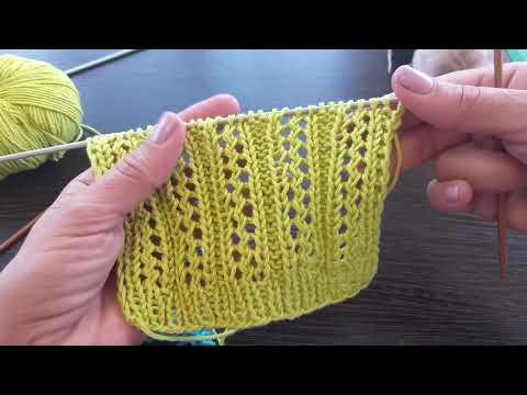 Ажурные полоски.Вязание спицами.