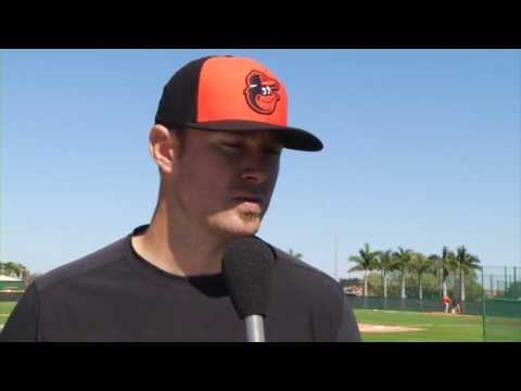 Chris Tillman talks after Day 1 at Spring Training