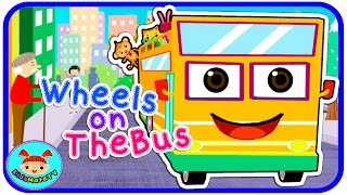 the wheels on the bus go round and round nursery rhymes kids songs kidsmatetv