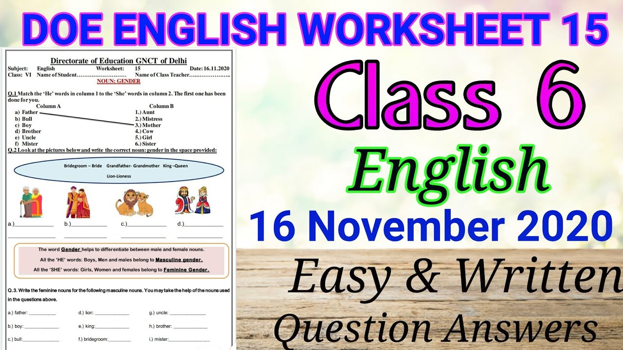 small resolution of Class 6 English Worksheet 15 II Noun Gender II Doe worksheet II  #Class6englishworksheet15 - YouTube
