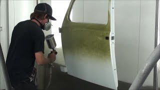 First Spray of VW Factory color ICELAND GREEN goes on the early 1955 OVAL BUG