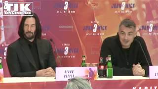 """Keanu Reeves With Long Hair """"John Wick 3"""" Press Conference In Berlin FULL LENGTH"""