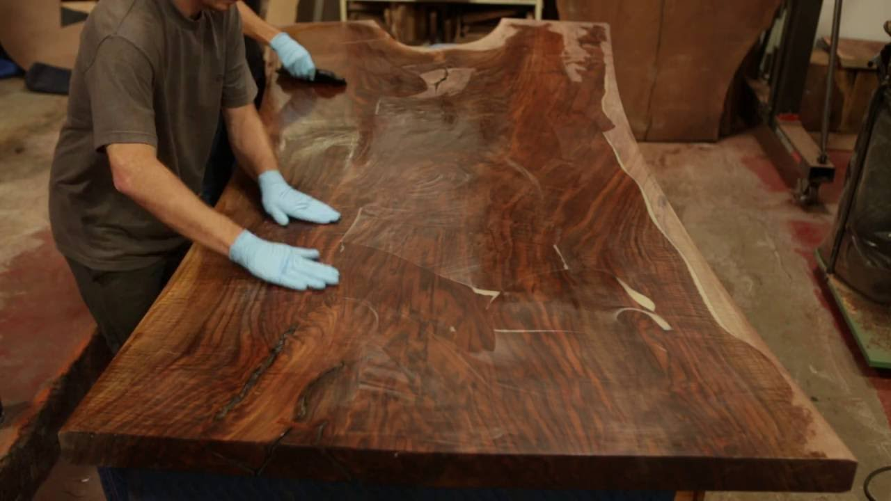 Perfect Finishing A STUNNING Claro Walnut Dining Table Top Live Edge Slab With A  Hand Applied Oil Finish   YouTube