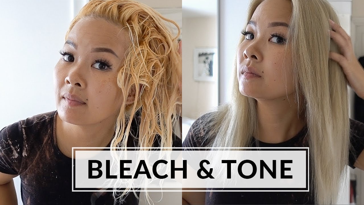 Bleach Tone Hair At Home Wella T14 Youtube