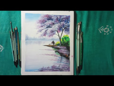 landscape painting with acrylic colour