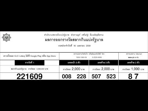 ผลสลากกินแบ่งรัฐบาล 16/04/59 ใบตรวจหวย