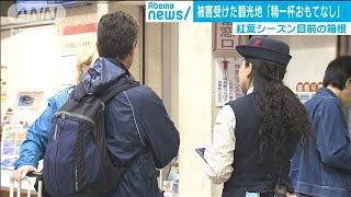 """上流の水が""""溢れ続ける""""箱根 観光客への対策は(19/10/18)"""