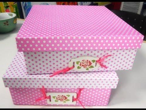 Como forrar una caja de carton con cartulinas  Maria Jose