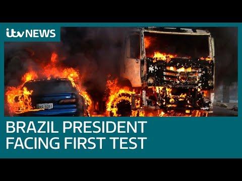 Brazil's hardline president Jair Bolsonaro faces fiery first test of crackdown on gangs | ITV News