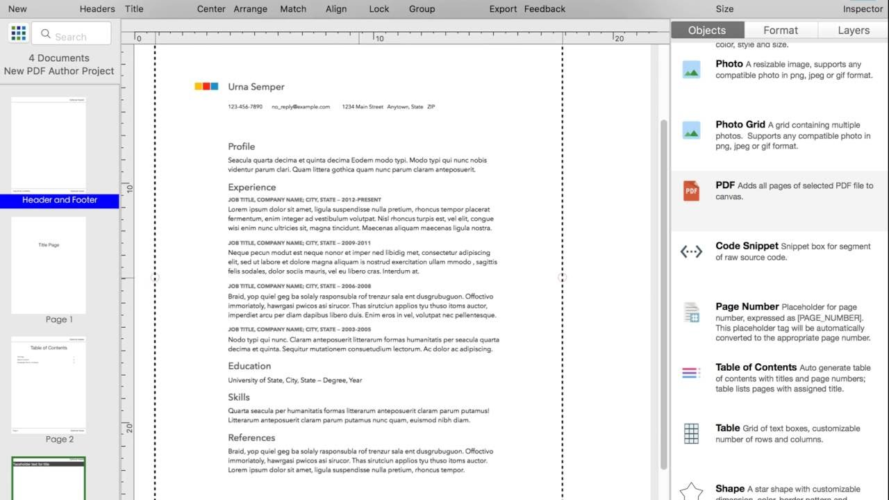 how to make a multi page pdf document