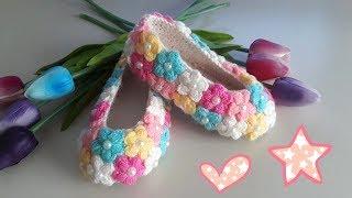 Puf  Çiçek Süslemeli Çocuk Patik  Yapımı ♥