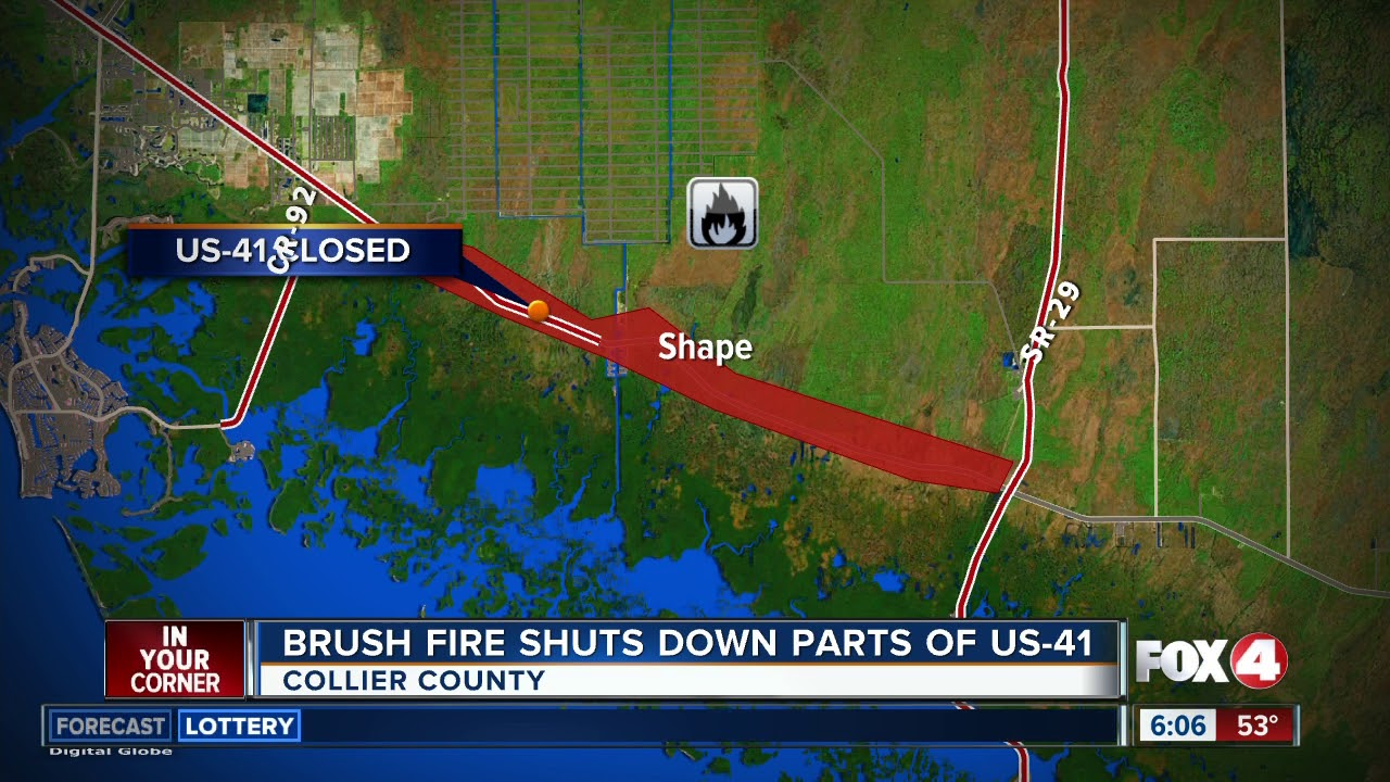 Tamiami Trail Closed In Collier County Due To Smoke Youtube
