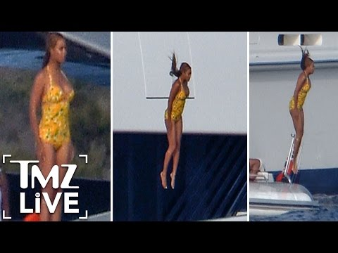 Beyonce -- Look Out Below!!! Crazy Yacht Diving | TMZ Live