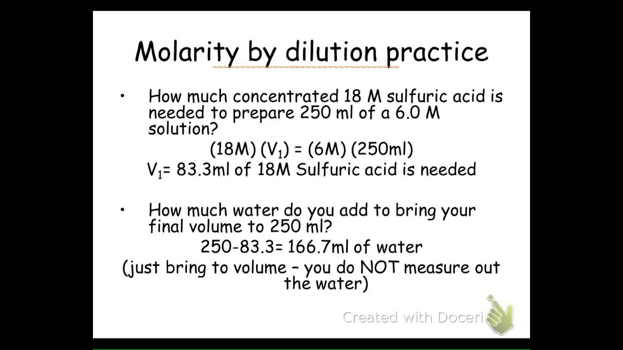 Molarity By Dilution Notes Slides 8082
