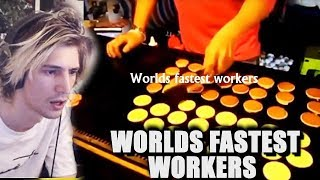 xQc Reacts to Fastest Workers Compilation with Moxy and Greek   with Chat!