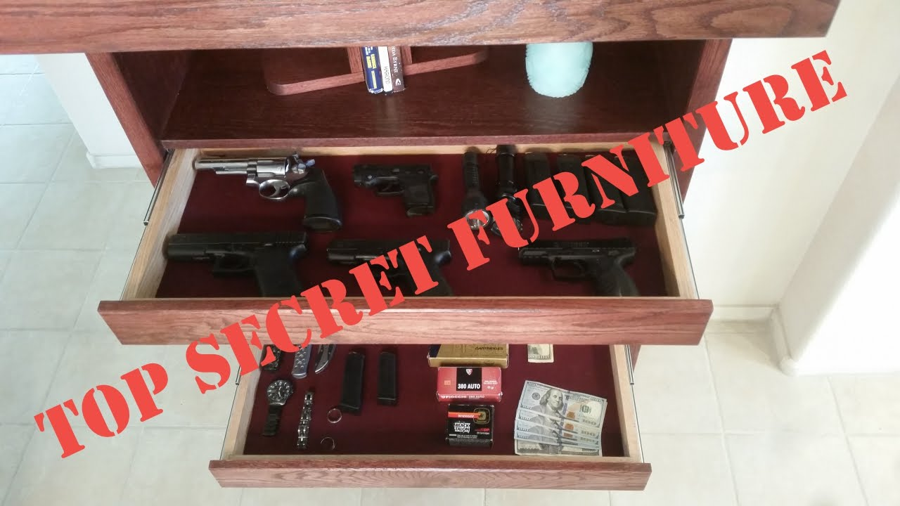 Gun Concealment Bookcase With Secret   Hidden Compartment By Top Secret  Furniture   YouTube