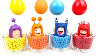 Oddbods and Magic Balls Toys - Learn Colors with Colorful Water Balloons Oddbods Toys Playclaytv