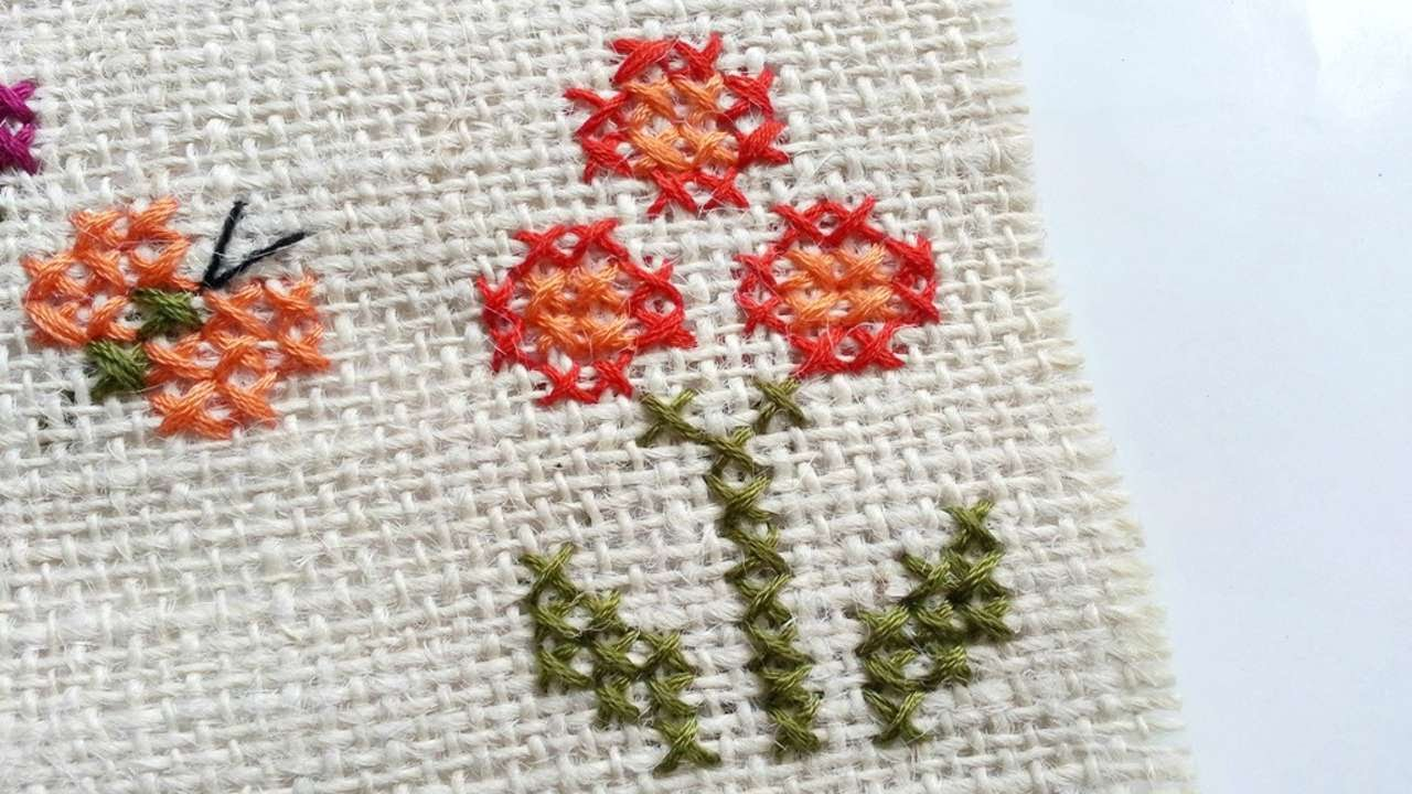 How To Create Simple Cross Stitched Flowers  Diy Crafts Tutorial   Guidecentral