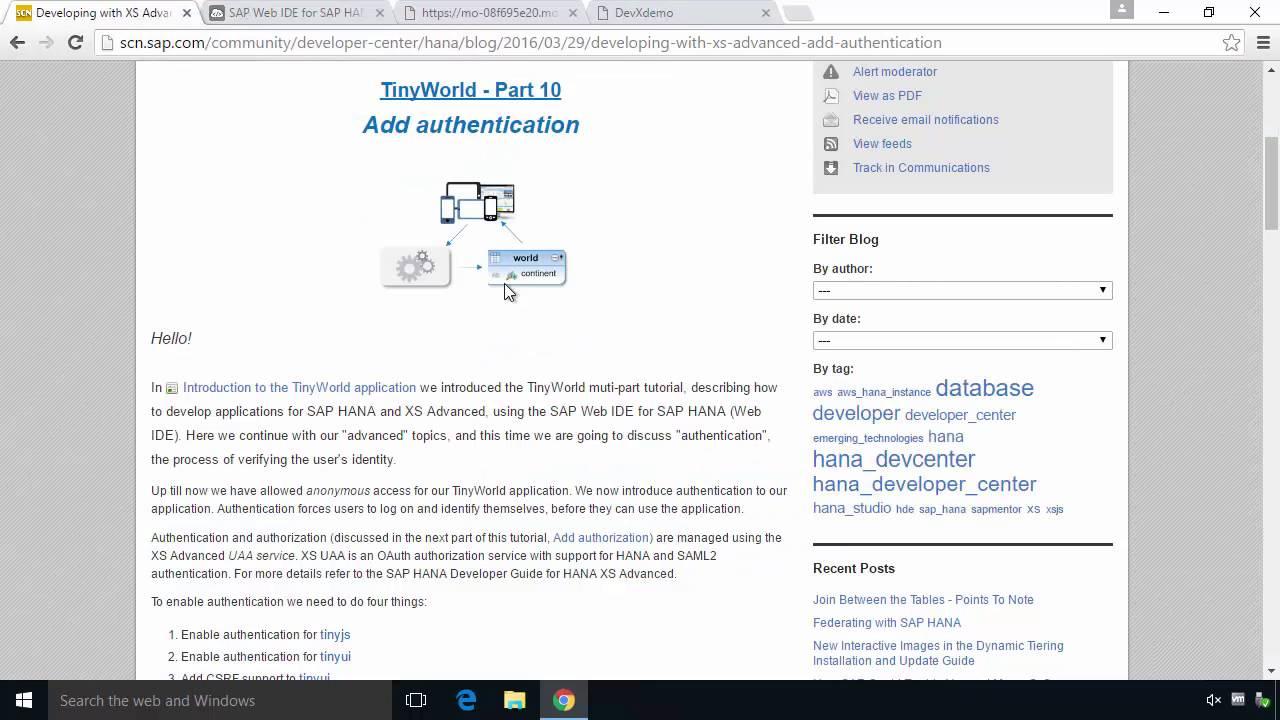 SAP HANA Academy - Web IDE for HANA: Authentication
