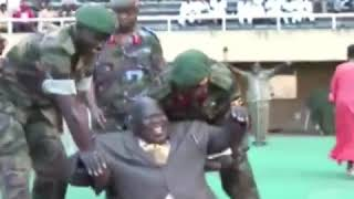 Uganda President falling while kicking the football- Funny video