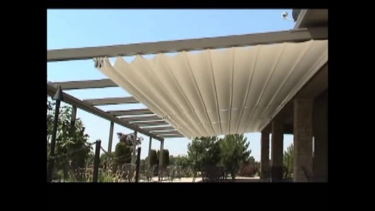 pergola toile r tractable de corradi youtube. Black Bedroom Furniture Sets. Home Design Ideas