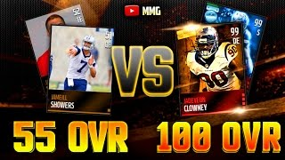 WORST TEAM CHALLENGE! 55 Overall Versus 100 Overall!? Madden Mobile Gameplay