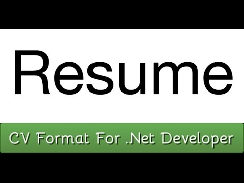 sample cv format for net developer resume youtube
