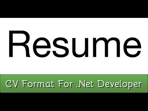 Sample CV Format For net Developer Resume - YouTube