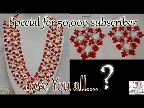 #96 Making a beautiful wedding special jewellery set with pearls | step by step | pearls necklace