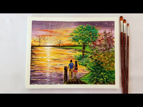 Watching The Sunset By Lovers | Easy Acrylic Painting | Step By Step For Beginners