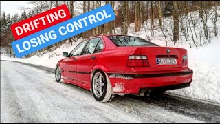 BMW E36 325i SNOW DRIFT + LOSING CONTROL