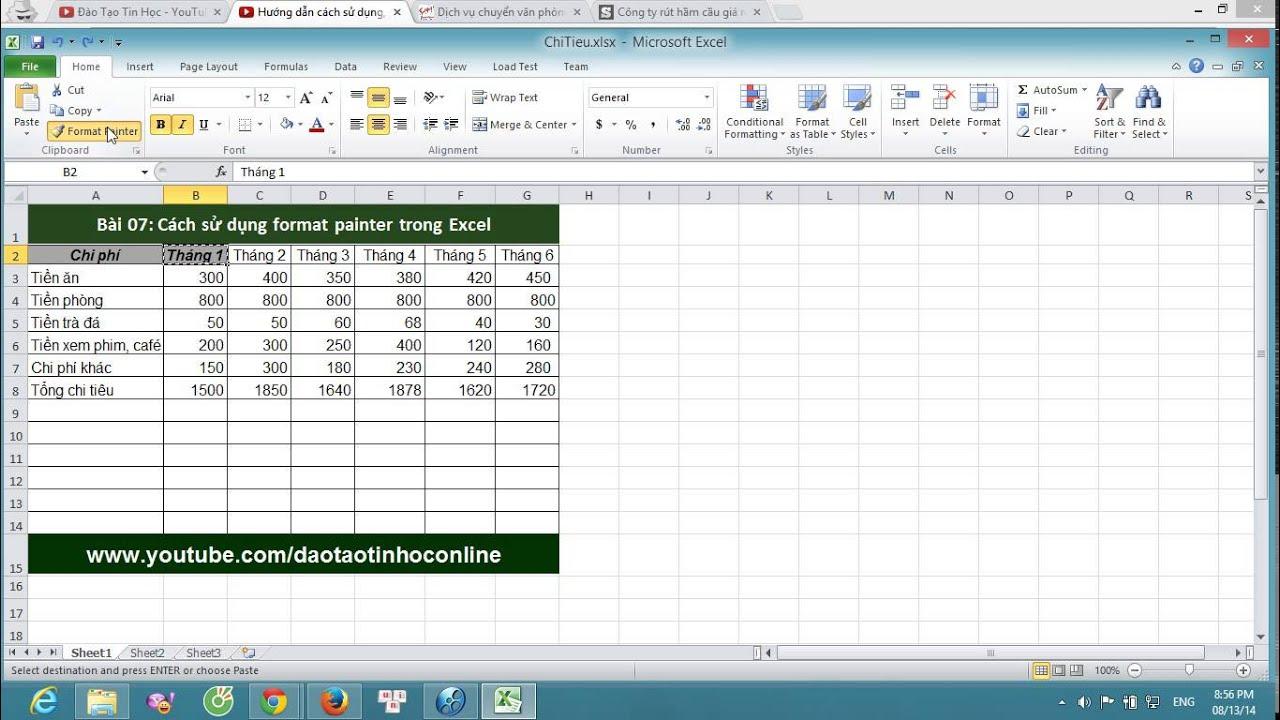 Cách sử dụng Format Painter trong Excel – Excel cơ bản