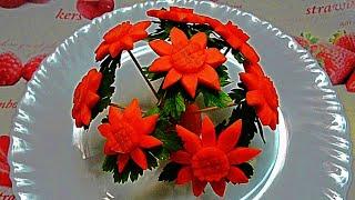 Цветы из моркови! Flowers of carrot! Украшения тарелки  Украшения из овощей!