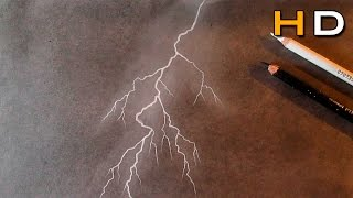 How to Draw a Lighting Strike With Charcoal Step by Step - Drawing Storm