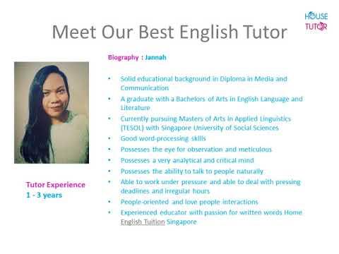 English Tution  -  House Tutor