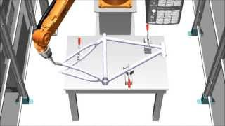 ABB Robotics - IRB 1520ID welding a bicycle frame.