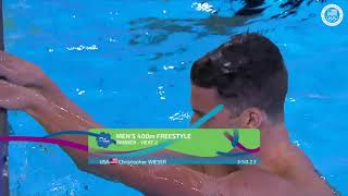 Chris Weiser Wins The Men's 400m Freestyle   Pan American Games Lima 2019