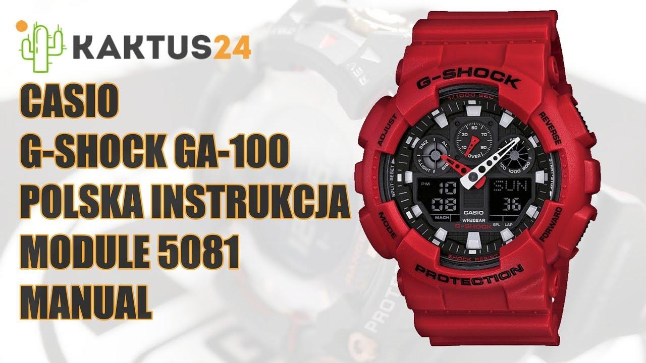 83e3ef7fab064a Jak ustawić Casio G-Shock GA-100 instrukcja obsługi PL ustawienia ...