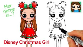 How to Draw a Christmas Disney Cute Girl