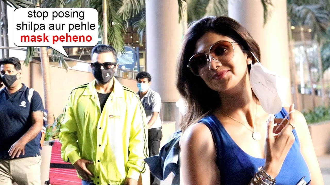 Shilpa Shetty's Husband Raj Kundra Scared Of She Removing Mask In Public & Shouts On Her On Airport
