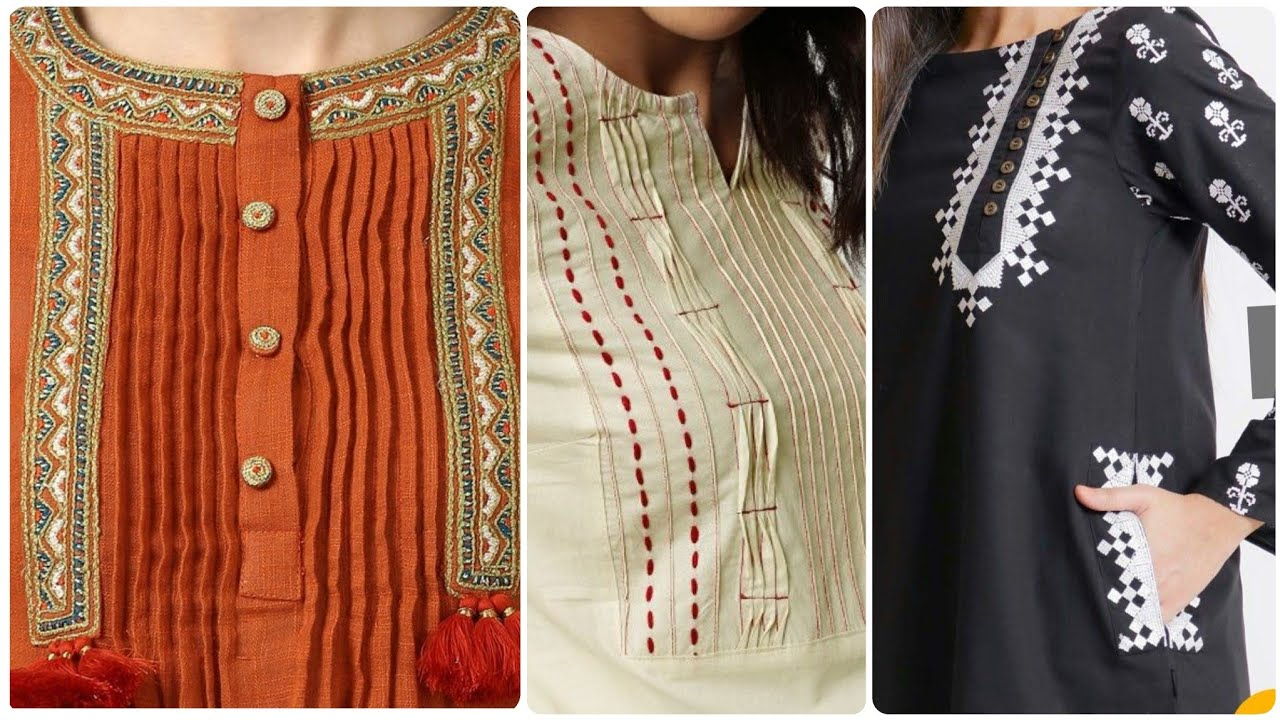 50 Beautiful Neck Sleeves Designs With Buttons For Kurti Qameez Youtube
