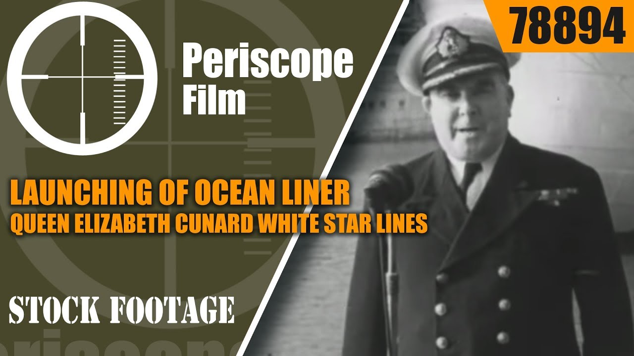 LAUNCHING OF OCEAN LINER QUEEN ELIZABETH  CUNARD WHITE STAR LINES 78894