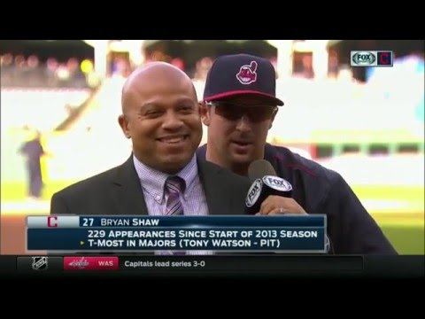 Bryan Shaw sits behind Andre Knott in one of the more unique Cleveland Indians' interviews