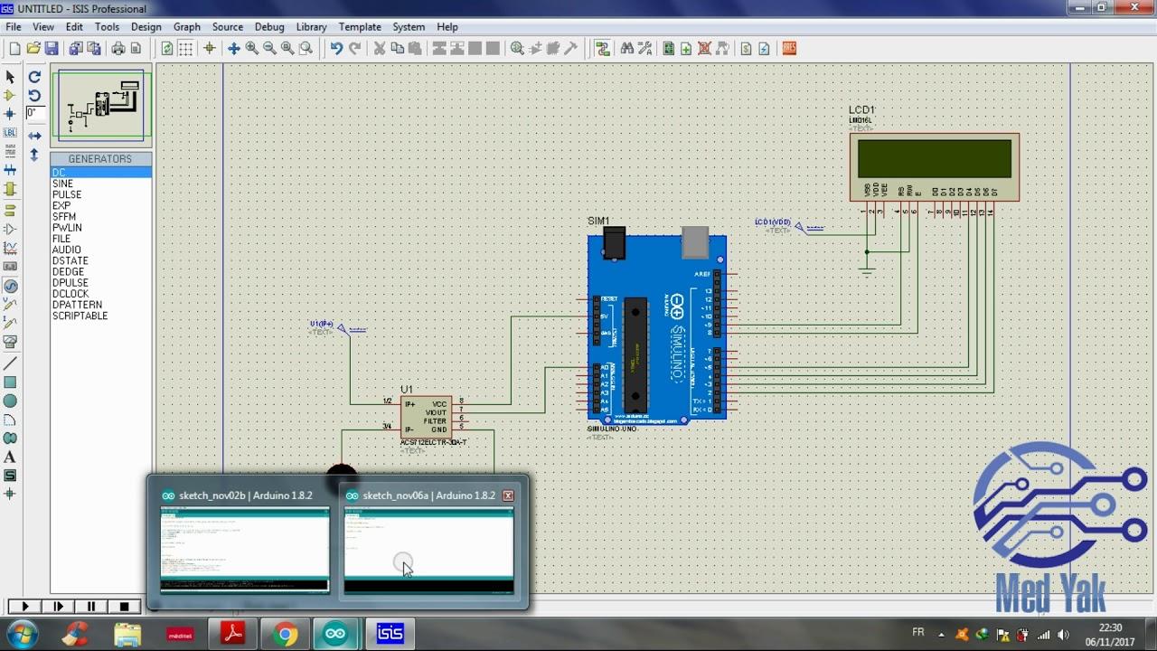 Proteus Isis | Utilisation du Capteur de courant Acs712 par Arduino