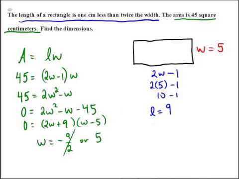 rectangle word problems with area and quadratic equations youtube. Black Bedroom Furniture Sets. Home Design Ideas