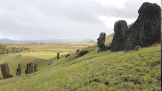 MOAI Recalling The Division Bell on a Tranquil Windy Hillside Rano Raraku Easter Island