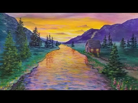 """LIVE Acrylic Landscape Painting Tutorial """"Cabin on the Water at Sunset"""""""