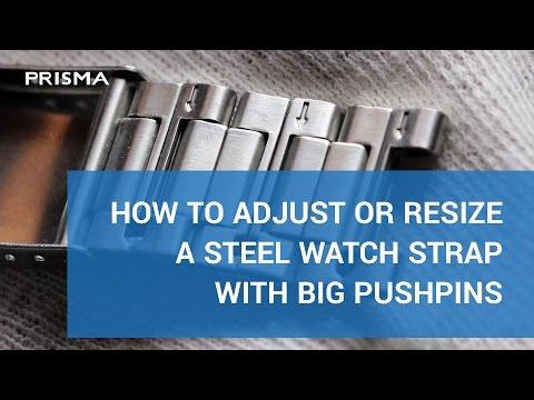 Adjust / resize steel watch strap with big pushpins
