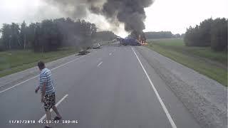 Авария фура микроавтобус пожар трасса Новосибирск Омск 11.07.18