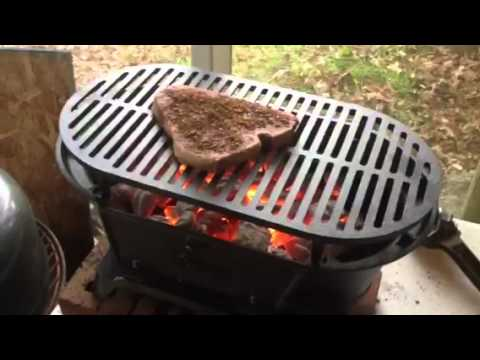 Lodge Cast Iron Sportsman Grill 1st Use Youtube